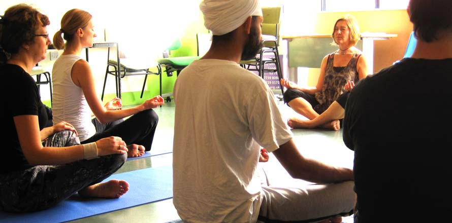 mindfulness meditation and yoga class at St Hilda's East community centre, East London